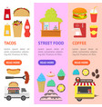 cartoon street food truck stall kiosk banner vector image