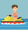 caucasian woman riding a water scooter in the sea vector image vector image