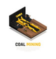 coal mining isometric composition vector image vector image