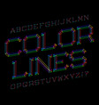 color lines typeface colorful font isolated vector image