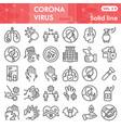 coronavirus line icon set covid-19 disease