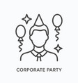 corporate party flat line icon outline vector image