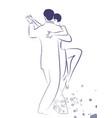 couple dancing tango drawn sketch by line vector image vector image