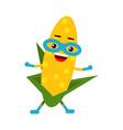 cute cartoon smiling corncob superhero in mask vector image vector image