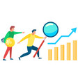 data analysis business people with tools and chart vector image vector image