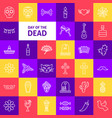 day of the dead line icons vector image