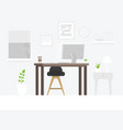 design of modern home office designer workplace vector image vector image