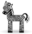 Funny zebra on white background vector image