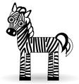 Funny zebra on white background