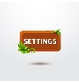 Game interface button settings on wooden template vector image vector image