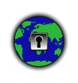 globe with lock vector image