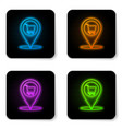 glowing neon map pointer with shopping cart icon vector image vector image