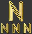 Golden line n logo design set vector image vector image