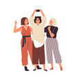 group happy female friends taking selfie use vector image vector image