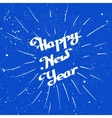 Hand-drawn Happy New Year with ink beam over blue vector image