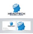 head tech logo template vector image vector image