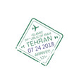 iran international airport stamp tehran arrival vector image vector image