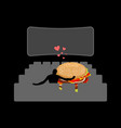 lover fast food man and hamburger in movie vector image vector image