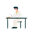 male doctor character working at desk medicine vector image vector image