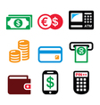 Money ATM - cash machine icons set vector image