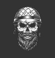 monochrome vintage soldier skull vector image vector image
