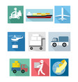 nine delivery icons vector image vector image