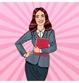 Pop Art Successful Business Woman Holding Folder vector image vector image