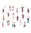 protest crowd characters people standing together vector image