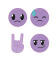 purple emoticon icon set vector image