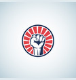 red and blue activist rebellion fist symbol vector image vector image