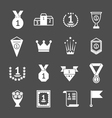Set icons of awards prizes and trophy vector image