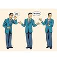 set of businessman presentation show welcome vector image vector image
