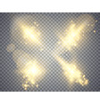 set of golden glowing lights effects vector image vector image