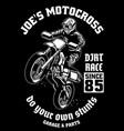 shirt design motocross garage vector image vector image