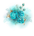 three turquoise roses vector image vector image