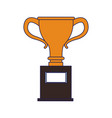 trophy cup championship symbol blue lines vector image vector image