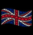 waving united kingdom flag collage of component vector image