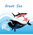 whale and a shark vector image vector image