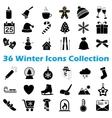 black winter icon collection vector image