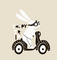 cute bunny on scooter childish print vector image