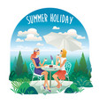 two young women in beach cafe summer vacation vector image