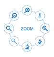 8 zoom icons vector image vector image