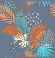 art rough grunge tropical leaves filled vector image vector image