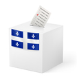 Ballot box with voting paper Quebec vector image vector image