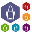big bag icons set hexagon vector image vector image