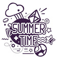black and white summer time quote on abst vector image