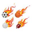 burning balls football and volleyball basketball vector image