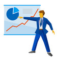 businessman shows a poster with growing charts vector image vector image