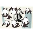 Cartoon panda bear set with lettering vector image