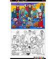 cartoon scary halloween characters group coloring vector image vector image